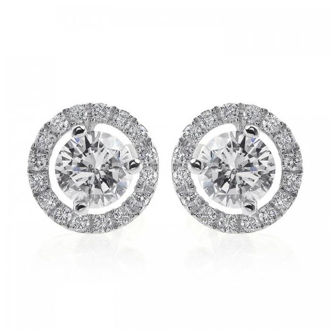 Item - 18k White Gold 1.28 Carat Round Cut Diamond Halo Stud Earrings