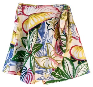ANNE PINKERTON Colorful Silk Soft Mini Skirt FLOWER PATTERN
