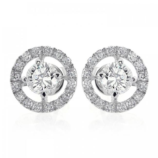 Item - 18k White Gold 1.80 Carat Halo Pave Four Prong Diamond Earrings