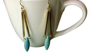 Anthropologie anthropology river turquoise gold drop earrings pierced new jewelry