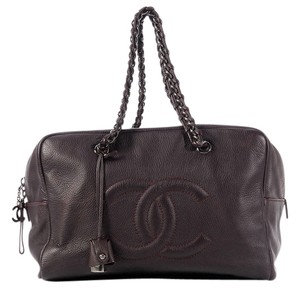 Chanel Dark Purple Deerskin Cc Shoulder Bag