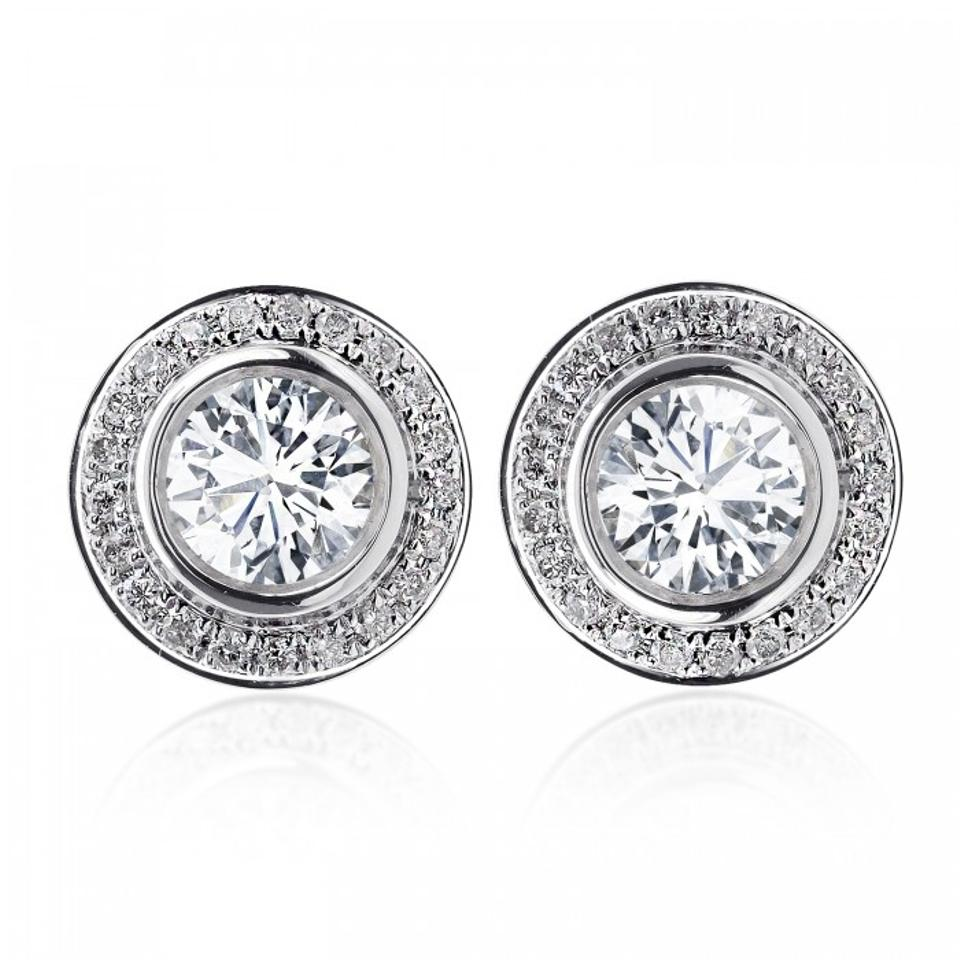 bezel earrings cut set diamond princess
