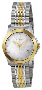 Gucci wo Tone Gold Silver Mother of Pearl and Diamond Dial Designer Dress Ladies watch