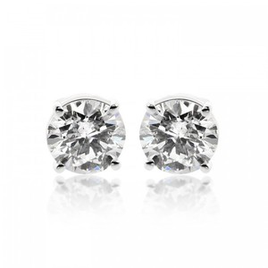 Avital & Co Jewelry 1.45 Carat Round Brilliant Cut Diamond Solitaire Stud Earrings 14k White Gold