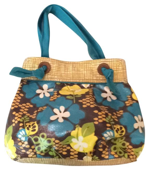 Item - Felicity Shopper Brown Turquoise Yellow Coated Canvas Hobo Bag