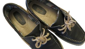 Bass Boat Leather Navy Flats