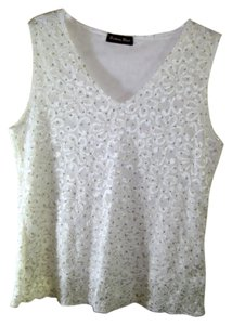 Brittany Black Dressy Size L Top White with white embroibered flowers and silver glitter dots