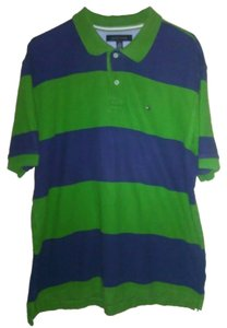 Tommy Hilfiger Striped Polo Shirt T Shirt Green,Blue Stripe