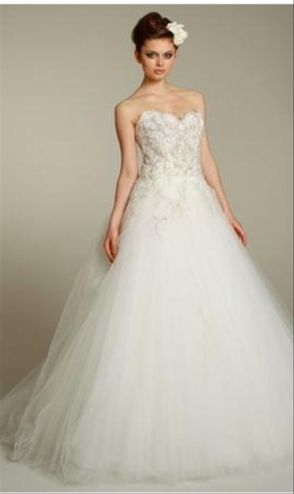 Lazaro Ivory Tulle Ball Gown 3152 Traditional Wedding Dress Size 6 ...