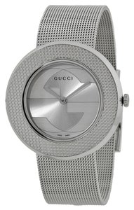 Gucci Silver tone Woven Mesh Bracelet Designer Ladies Casual Watch
