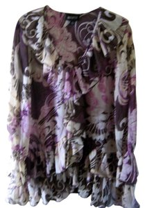 Metro Style Sheer Polly. Size 12 Multi Colored Ruffled Long Blouse Button Down Shirt cream, plum, beige, brown
