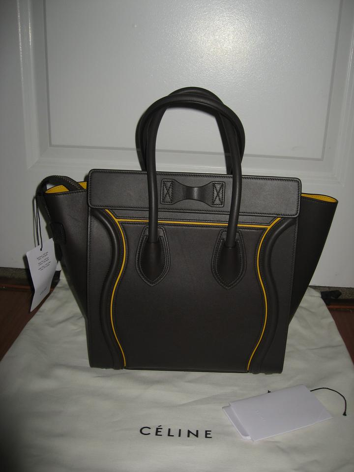 Interstice Micro with Luggage Tote Leather New Dark Céline Taupe 7EvqBE