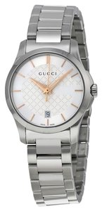 Gucci Two Tone Silver and Rose Gold Stainless Steel Designer Dress Ladies Watch