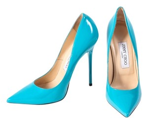Jimmy Choo Patent Leather Teal Pointy Toe Turquoise Pumps