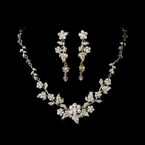 Elegance by Carbonneau Gold Plated Crystal Jewelry Set