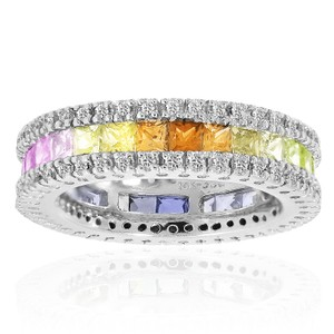 Avital & Co Jewelry 3.00 Carat Multi-color Sapphire And 1.00 Carat Diamond Band 14k White Gold
