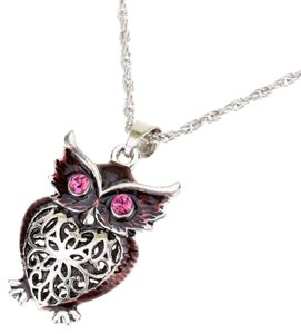 New Long Owl Sweater Necklace Large Pendant Pink Crystal Eyes Silver Tone J2368