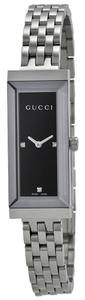Gucci Black Rectangular Dial with Diamond Markers Silver tone Stainless Steel Designer Dress Watch
