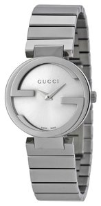 Gucci Silver tone Stainless Steel G Logo Bezel Designer Ladies Dress Watch