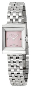 Gucci Pink Mother of Pearl Diamonds Square Designer Ladies Watch