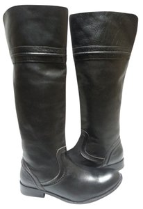 Frye Leather Motorcycle Knee High Black Boots