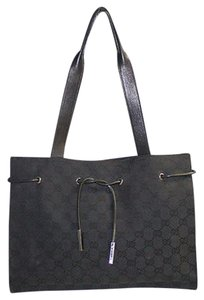 Gucci Canavs Leather Satchel in Black