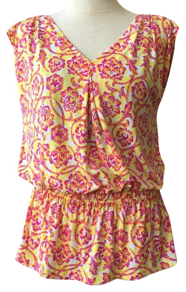 217ef0e48838ff Multicolor Gathered Waist Floral Blouse Size 6 (S) - Tradesy