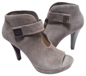 Michael Kors Peep Toe Ankle Suede Grey Boots