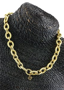 David Yurman David Yurman Solid 18k Yellow Gold Large Oval Link Necklace