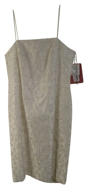 JS Collections Ivory Bugle Beads Knee Length Formal Dress Size 12 (L) JS Collections Ivory Bugle Beads Knee Length Formal Dress Size 12 (L) Image 1