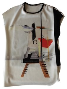 Zara Abstract T Shirt white, black