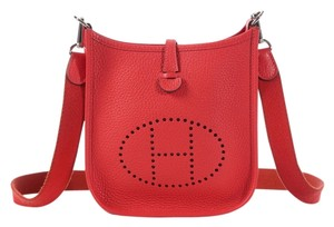 Hermès Red Evelyne Tpm Perforated H Cross Body Bag