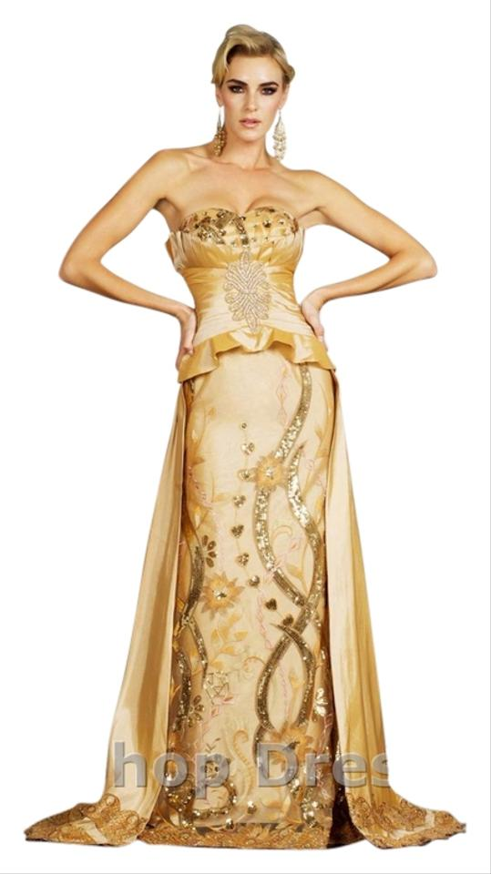 Mm Couture Gold Long Formal Dress Size 12 L Tradesy