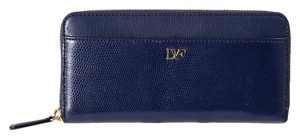 Diane von Furstenberg DIANE VON FURSTENBERG Lip Zip Around Continental Blue Clutch