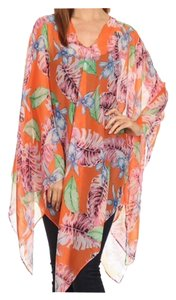 CLEARANCE New Pumpkin Floral Kaftan Poncho Tunic Top Coverup OS
