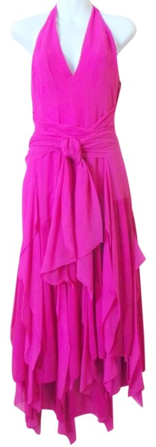 Item - Magenta Flowing Chiffon Holiday / Silk Collection Mid-length Night Out Dress Size 12 (L)
