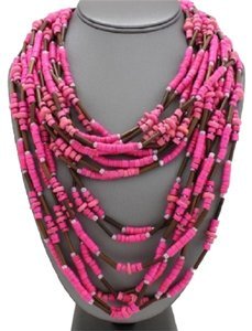 Pink Multilayered Wood Bead Boho TRibal Necklace And Earrings