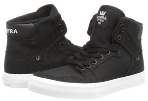 Supra Black canvas with white rubber soles Athletic