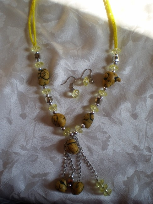 Yellow W/Matching Earrings Necklace Yellow W/Matching Earrings Necklace Image 1