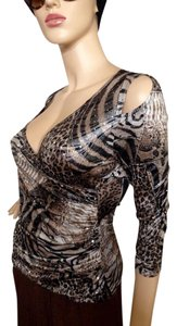 Joseph Ribkoff Top Metallic Animal Print