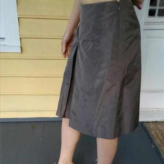 J.Crew Kick Pleat Silk Skirt Brown