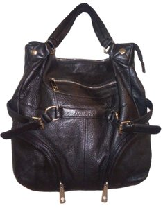 Chocolat Blu Pebbled Leather Tote in black