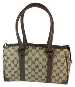 Gucci Gg Logo Monogram Leather Tote
