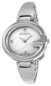 Gucci Mother of Pearl Silver tone Bangle Bracelet Designer Ladies Dress Watch