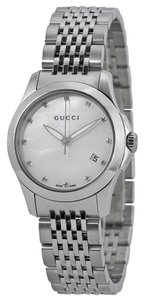 Gucci Mother of Pearl Diamonds Silver tone Designer Luxury Watch