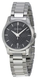 Gucci Grey Logo Dial Silver tone Stainless Steel Designer Watch
