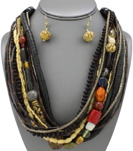 Boho Tribal Chic Multilayered Natural Wood Ceramic Beads Stones Necklace And Earrings
