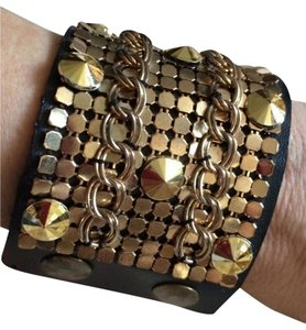 Brown Leather Studded Chain Mail Cuff Bracelet