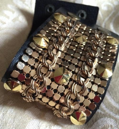 Other Brown Leather Studded Chain Mail Cuff Bracelet