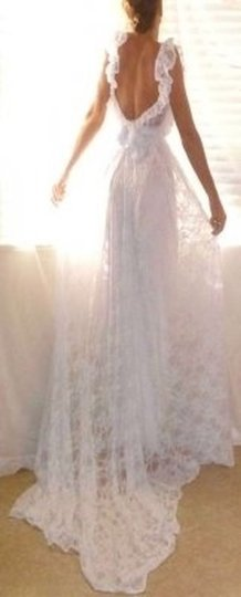 White All Stretch Lace and Liner Ultimate Romantic Gown Traditional Wedding Dress Size 4 (S)